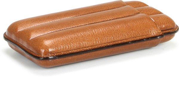 Martin Wess 491 Zigarrenetui für 3 Robustos  Ziegenleder Havanna