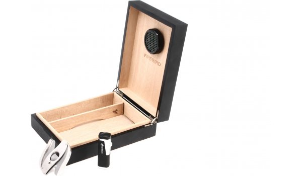 Colibri Firebird Humidor-Set - für 20 Zigarren - schwarz/matt
