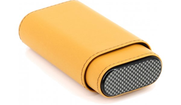 Zigarren Lederetui Gelb / Carbon