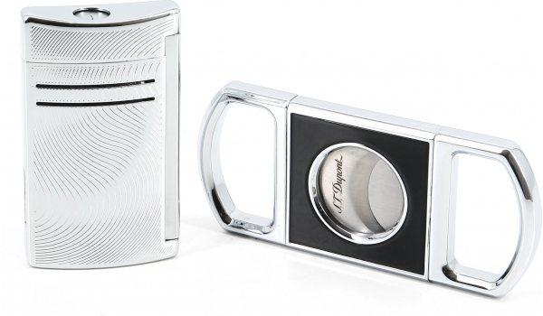S.T. Dupont Geschenkset Zigarrencutter und Maxijet Vibration Chrom