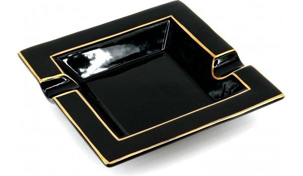 Aschenbecher Quadratisch Goldbemalt Schwarz